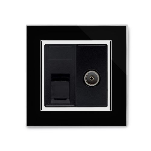 RetroTouch Cat 6/TV Socket Black Glass CT 04241